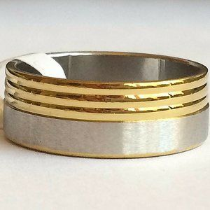 Silver Gold Stainless Steel Ring Size 8 13 Band